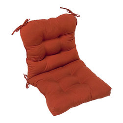 None - Red Outdoor Seat/Back Chair Cushion - Turn your patio table into a comfortable hangout with this red chair cushion. It covers both the seat and the back, so you can lean back and relax after a long day. Its weather-resistant, so you dont have to worry about leaving it outdoors.