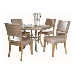"""Hillsdale Furniture - Hillsdale Charleston 5-Piece Wood Base Dining Set with Parson Chairs - Hillsdale's Charleston collection beautifully combines a rustic desert tan wood finish with a dark grey metal and offers a multitude of choices to create the perfect dining group for your home. Starting with the chairs, you have the choice of three lovely designs: The X-Back chair combines a rustic desert tan top accent with a transitional metal X in the center of the back and a brown faux leather seat. The parson's chair is traditional in design and combines the rustic desert tan finish with the brown faux leather seat. The ladder back chair features 3 rungs in the desert tan finish, enhanced by the dark grey metal and brown faux leather seat. Now that you have decided on your chair, let's look at the table options: The stunning rectangle table features a wood top that is generously scaled to easily accommodate 6. The simple round table features a 48"""" diameter wood top with flared metal legs. The round wood table is 48"""" in diameter and features a wonderful metal accent on the base."""