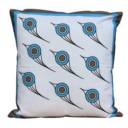Auburn Design Studio - Birds Pillow - Teal Color Flying Birds Pillow.