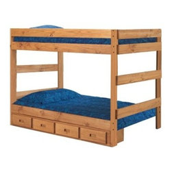 Chelsea Home Full over Full 1-Piece Bunk Bed - Ginger Stain - The all-in-one convenience of the Chelsea Home Full over Full 1-Piece Bunk Bed - Ginger Stain makes it a favorite for parents and kids alike. The chic rustic design is perfect for both girls and boys and the full over full beds allow them space to spread out. Four included storage drawers beneath provide additional storage for clothing bedding toys and accessories. About Chelsea Home FurnitureProviding home elegance in upholstery products such as recliners stationary upholstery leather and accent furniture including chairs chaises and benches is the most important part of Chelsea Home Furniture's operations. Bringing high quality classic and traditional designs that remain fresh for generations to customers' homes is no burden but a love for hospitality and home beauty. The majority of Chelsea Home Furniture's products are made in the USA while all are sought after throughout the industry and will remain a staple in home furnishings.