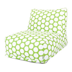 Kids Room - Retro cool and super fun bean bag that's just like you remember as a kid - only these are better. The Majestic Home Goods durable Hot Green Polka Dot Bean Bag Chair Lounger will add style and functionality to your living room, family room or game room seating arrangement. The beanbag inserts are eco-friendly by using up to 50% recycled polystyrene beads. They're supportive and comfy. Whether you are lounging in front of the TV, playing video games or just hanging out with friends, they are the perfect accent to any room. If you choose to purchase from the Majestic Outdoor collection, the material has up to 1000 hours of U.V. protection.
