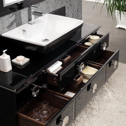 """Moselle 59 Modern Glass Bathroom Vanity With Mirror - The Moselle vanity is the epitome of luxury.  This high quality vanity has a steel frame construction with a tempered glass exterior.  The interior drawers are made from Ebony Macassar which gives it a classic, high end look.  Many faucet styles to choose from.Dimensions of Vanity:  59.25""""W x 18""""D x 34""""H. Dimensions of Mirror:  27.63""""W x 52.38""""H. Materials:  Steel Frame, Tempered Glass Countertop, Ceramic Sink, Ebony Macassar Veneer Drawers. Single Hole Faucet Mount (Faucet Shown In Picture May No Longer Be Available So Please Check Compatible Faucet List). P-trap, Faucet, Pop-Up Drain and Installation Hardware Included"""