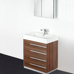 "Fresca - Fresca Livello 30"" Walnut Modern Bathroom Vanity W /Faucet & Medicine Cabinet - At a width of 29"" and a height of 33.5"", the Fresca Livello bathroom vanity is perfect for smaller spaces. With a minimalistic and contemporary design, this vanity will make your bathroom feel like a modern oasis. Complete with four, slow closing 18.63"" deep pull out drawers the Fresca Livello bathroom vanity offers ample storage for all of your washroom necessities. The 29"" wide x 26"" high x 5"" deep medicine cabinet provides additional storage while enhancing the aesthetics offered by this contemporary vanity. The Fresca Livello comes with a durable acrylic sink that is less likely to break then traditional ceramic options. These bathroom sinks also clean better, making them ideal for homes with smaller children.Items included: Vanity, Medicine Cabinet, Sink, Faucet, P-Trap and Pop-Up Drain, Standard hardware needed for installation.DecorPlanet is proud to offer Fresca Bathroom products. Fresca is a leading manufacturer of high-quality vanities, accessories, toilets, faucets, and everything else to give you the freshest bathroom in the neighborhood. Fresca is known for carrying the latest and most popular styles in modern and contemporary bathroom design that are made with high quality materials and superior workmanship."