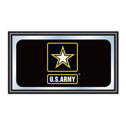 Trademark Global - Framed Mirror w U.S. Army Logo - Includes mounted saw tooth hanger. 0.75 in. mirror thickness. 1.25 in. black wrapped wood frame. Officially licensed full color artwork. Mirrored glass accents logo. No assembly required. 26 in. W x 15 in. H (7 lbs.)Reflect on the favorite memories of your military service with this officially licensed framed logo mirror. Display your passion for the game while assisting your room's appearance with this professional grade logo mirror.