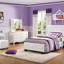 Homelegance - Homelegance Sparkle 6 Piece Upholstered Bedroom Set in White Bi-Cast Vinyl - The glamour girl in your life will swoon when she opens her bedroom door to the Sparkle Collection. Fashion forward and scaled to fit her needs, this trendy bedroom will make her the envy of all of her friends. White bi-cast vinyl is featured not only on the tufted headboard, but on the drawer fronts of each case piece and coordinating vanity and storage stools. Clear hardware is faceted for maximum sparkle and punctuates each drawer front. Matching vanity features a hidden mirror within the lift top storage area. - 2004-UB-6-SET.  Product features: Fashion forward and scaled to fit her needs; Clear hardware; Tufted headboard; White bi-cast vinyl upholstery; Available in Twin and Full sizes. Product includes: Bed (1); Nightstand (1); Dresser (1); Mirror (1); Vanity w/ Mirror (1); Ottoman (1). 6 Piece Upholstered Bedroom Set in White Bi-Cast Vinyl belongs to Sparkle Collection by Homelegance.
