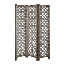 Uttermost - Quatrefoil Burnished Floor Screen - Divide and conquer in your decor. Delicate scrollwork and a refined, burnished finish create a sense of intimacy in your open space.
