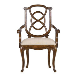 Stanley Furniture - Arrondissement-Tuileries Arm Chair - A sophisticated blend of classic European styles, the Tuileries Arm Chair receives your dining guests with unmatched hospitality. The subtle tonal stripe of the Glace fabric enhances the detailed carving found on the chair's back, while the curves of the cabriole legs are mirrored in the seat's arm rests.