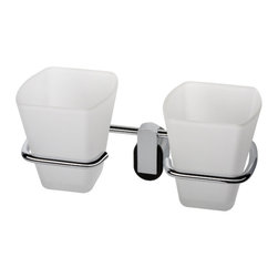 Geesa - Wall Mounted Frosted Glass Double Tumbler With Chrome Holder - Double glass tumbler.