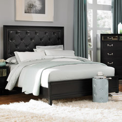 "Coaster - Devine Queen Bed in Black Finish - The unique styling of the Devine bedroom collection offers a casual contemporary look that is sure to make a bold statement in your master bedroom. The headboard features a button tufted back with detailed nailhead trimming. The top drawer fronts on each case piece features a mirrored front panel which creates an exceptional appearance and style. A bevelled mirror accompanies the dresser to pull in the contemporary feel of this collection.; Contemporary Style; Black Finish; Dimensions: 85.50""L x 63.50""W x 61""H"