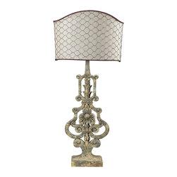 Dimond Lighting - Dimond Lighting 93-9141 Avignon 1 Light Table Lamps in Avignon White - Table Lamp With Chicken Wire Shade