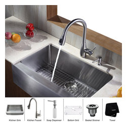 Kraus - Kraus 33 inch Farmhouse Single Bowl Stainless Steel Kitchen Sink with Kitchen Fa - *Add an elegant touch to your kitchen with unique Kraus kitchen combo