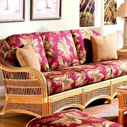 Spice Island Wicker - Spice Island Collection Sofa (Nara Marsala Spun - All Weather) - Fabric: Nara Marsala Spun (All Weather)Add a breeze of tropical freshness with deep-seated sofa crafted in woven wicker and rattan.  The styling gets noticed with a contoured back, sloped arms and arched shaped aprons.  Super-soft seat and back cushions are richly padded for the utmost seating comfort.  Strudy woven wicker and rattan frame is quality built to serve you long and well.  Take your choice of great fabric selections! * Solid Wicker Construction. Natural Finish. For indoor, or covered patio use only. Includes cushion. 84 in. W x 36 in. D x 36.5 in. H