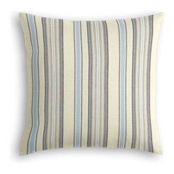 Pale Blue & Tan Stripe Custom Throw Pillow - The every-style accent pillow: this Simple Throw Pillow works in any space.  Perfectly cut to be extra fluffy, you'll not only love admiring it from afar but snuggling up to it too!  We love it in this breezy linen stripe of sky blue, gray & ivory feels soft, serene and sophisticated.