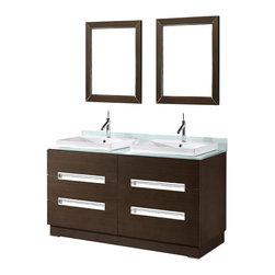 Adornus - Adornus VERONA-60-WAL -C Walnut Vanity - Free standing all wood vanity in a smooth walnut veneer finish