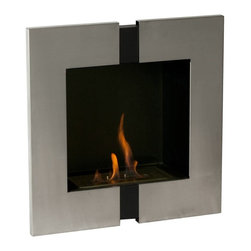 Unum Recessed Bio Ethanol Fireplace - The Unum Recessed Bio Ethanol Fireplace is a ventless fireplace that requires no chimney, gas or electric lines. It features black powder coating on the inside with a stainless steel trim. It can be placed virtually any where. There is little to no maintenance and if you choose not to recess it into the wall, you can hang it directly on the wall.