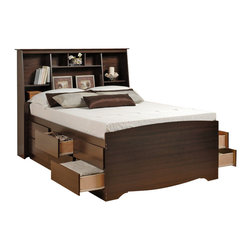 Prepac - Prepac Manhattan Tall Double / Full Bookcase Platform Storage Bed in Espresso - Prepac - Beds - EBD5612KIT - The Manhattan Bookcase Platform Storage Bed is constructed of composite wood in an elegant espresso finish. This Double/Full size bed features twelve drawers for ample storage and a headboard with eight compartments to keep all your bedtime necessities within arms reach. With clean lines and a simple design the Manhattan Bookcase Platform Storage Bed is the ideal central fixture in your bedroom. With its sleek design the espresso finished Manhattan Collection by Prepac offers you a designer product at an affordable cost. These hybrid products combine solid wood legs with laminated composite wood tops and sides to create stability and affordability with style. Drawers run smoothly on metal roller glides and have high plywood sides for ample storage. Solid knobs with a brushed nickel finish complete the products. Add class and casual sophistication to your home with the Prepac Manhattan Collection.