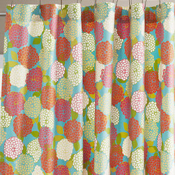 Zinnia Shower Curtain - Transport yourself to a field of zinnias with this vibrant floral shower curtain.