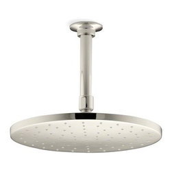 "Kohler - Kohler K-13689-SN Vibrant Polished Nickel Rainhead 10"" Contemporary - 10"" Contemporary round rain showerhead from the Rainhead Collection The new KOHLER Rainhead collection delivers the most comprehensive offering of rain showerheads available in the market today, providing an affordable and scalable showering solution that coordinates designs and finishes with the rest of the KOHLER faucets and accessories.  Low profile design creates a striking contemporary centerpiece in any custom shower installation  Superior spray performance with Katalyst Spray Technology™ delivers a luxurious and drenching  rain  experience  Optimized sprayface design creates a denser uniform spray pattern for consistent coverage and feeling of warmth  MasterClean™ sprayface with translucent nozzles resists mineral buildup and ensures reliable performance for years to come  2.5 gallons per minute flow rate  Solid brass construction ensures durability and reliability"
