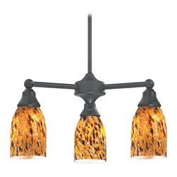 Design Classics Lighting - Mini-Chandelier with Brown Art Glass in Matte Black Finish - 598-07 GL1005MB - Transitional matte black 3-light chandelier. Takes (3) 100-watt incandescent A19 bulb(s). Bulb(s) sold separately. UL listed. Dry location rated.