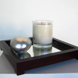 """Boom Design - Gazing Tray in Clear Coffee Bean - Made of tinpet wood with a rich dark brown color stained. This dainty mirror tray is adaptable as a holder for candles in a living room or as perfume tray on a dressing table. Features: -Available in small and large sizes. -Made of tin pet wood with a rich dark brown color stained. -Dainty mirror tray is adaptable as a holder for candles in a living room or as perfume tray on a dressing table. -6 Months warranty. -Overall dimensions: 1.25-1.5"""" H x 6-8"""" W x 6-8"""" D."""
