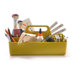 Vitra - Toolbox, Mustard - What are the tools of your trade? Whether you need sticky notes and pens, hot glue and sequins, nails and drill bits or muddlers and swizzle sticks at your fingertips, this organizer helps you hold and haul everything in organized style.