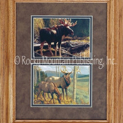 Rocky Mountain Publishing - Mossy Bog, Greg Beecham Wildlife Art Framed Set 11x14 - Greg  Beecham's  Mossy  Bog  and  Annual  Rites  are  each  featured  in  this  two-print  wildlife  art  set.  Double  matted  and  framed  in  rustic  wood,  these  beautiful  painignts  of  a  majestic  moose  and  stately  elk  will  thrill  the  outdoorsman.                  Dimensions:  Matting  and  glass  measure  11x14  inches;  Outside  frame  measures  approximately  17x20  inches.              Glass,  3-inch  double  mats,  and  brass  title  plate  included              Treated  with  an  acid-free  sealant  to  protect  from  fading              Made  in  USA              Hanging  system  pre-installed              Allow  2  weeks  for  shipping