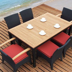 Tosh Dining Table with 2 Arm Chairs and 4 Side Chairs - This 7 PC Outdoor Dining Set includes 2 dining chairs with teak armrests, 4 armless chairs and dining table with slatted teak top. Dining chairs with armrests come with 60mm seat cushions. Armless Dining chairs come with 60mm seat cushions. Dining table features 20mm top.