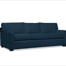 "PB Square Upholstered Sofa, Down-Blend Wrap Cushions, Brushed Canvas Harbor Blue - The streamlined silhouette of our bestselling PB Square Sofa is now available in a more tailored, upholstered edition. Compact proportions make it ideal for smaller spaces. 79"" w x 36"" d x 36"" h {{link path='pages/popups/PB-FG-Square-3.html' class='popup' width='720' height='800'}}View the dimension diagram for more information{{/link}}. {{link path='pages/popups/PB-FG-Square-6.html' class='popup' width='720' height='800'}}The fit & measuring guide should be read prior to placing your order{{/link}}. Choose polyester wrapped cushions for a tailored and neat look, or down-blend for a casual and relaxed look. Proudly made in America, {{link path='/stylehouse/videos/videos/pbq_v36_rel.html?cm_sp=Video_PIP-_-PBQUALITY-_-SUTTER_STREET' class='popup' width='950' height='300'}}view video{{/link}}. For shipping and return information, click on the shipping info tab. When making your selection, see the Special Order fabrics below. {{link path='pages/popups/PB-FG-Square-7.html' class='popup' width='720' height='800'}} Additional fabrics not shown below can be seen here{{/link}}. Please call 1.888.779.5176 to place your order for these additional fabrics."