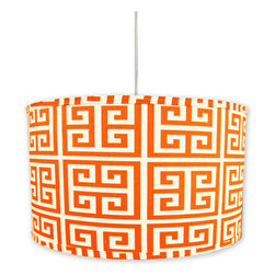 "Doodlefish - Orange Maze Pendant Shade - Our bright orange and white A'Mazing Orange fabric lights up beautifully on this hanging pendant shade. The light is 16""d by 13""tall. It comes with a sleek white pluggable cord that measures 18' in length. Our pendants are hand made in America and are UL Listed.   This pendant uses one 40 watt or less bulb that is not included."