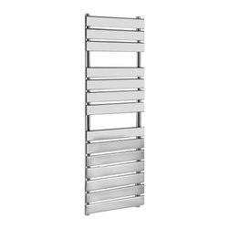 Hudson Reed - Designer Flat Panel Chrome Plated Towel Radiator Rail 59 x 19.5inch - This tall, Flat Panel Heated Towel Rail boasts a high quality chrome plate finish and gives an impressive heat output of 588 Watts (2,005 BTUs), enough to dry your towels and heat a bathroom or cloakroom. With 14 horizontal polished chrome flat panels, this designer radiator is the stunning focal point of any modern bathroom, shower room, cloakroom or ensuite and can take pride of place in other domestic settings, where it provides valuable background heat. Supplied complete with a fixing pack for wall mounting, and suitable for all household heating systems, the 59 x 19.5 Flat Panel Towel Rail connects to your heating system via radiator valves included (please choose straight or angled). Signelle Designer Flat Panel Chrome Plated Towel Radiator Rail 59 x 19.5 Details  Dimensions:  (H x W x D) 59 x 19.5 x 3.75  Output: 588 Watts (2,005 BTUs) Number of cross panels: 14, divided into 3 sections of 3, 4, 7 Pipe Centres: 17 Panel Height: 3 Fixing Pack Included Suitable for bathroom, cloakroom, kitchen etc. Expertly plated with high quality 62.5 micron chrome on copper plated mild steel, with swagged oven brazed joints. Tested to BS EN442 - 10 bar maximum working pressure  Buy now, to transform your bathroom, at an affordable price. Please Note: Our radiators are designed for forced circulation closed loop systems only. They are not compatible with open loop, gravity hot water or steam systems.