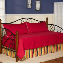 Leggett/Platt Fashion Bed - Camp 1830 4 Pc Daybed Ensemble - Includes comforter, bed skirt with split corners and two king shams. Vibrant cherry red solid deep quilted comforter with 16 ozs. hand-packed bonded fiberfill. Shams with envelope style closure. 15 in. drop bed skirt. Made from 100% cotton. Striped bed skirt in green apple, dark denim blue, sunflower yellow and mandarin orange color. Made in USA. Comforter: 55 in. L x 97 in. W