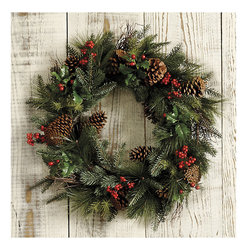 Ballard Designs - Mixed Pine & Berry Wreath - Realistic without the mess of needles. Hand-crafted. Our Mixed Pine & Berry Wreath is a perennial customer favorite and this year, it's better than ever. We've added more bright red berries and branches to the mix of pine, holly and real pinecones for an even lusher, fuller look.Mixed Pine & Berry Wreath features: . .