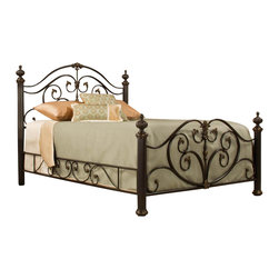 Hillsdale Furniture - Hillsdale Grand Isle Poster Metal Bed  in Brushed Bronze - King - Refined and imposing, Hillsdale Furniture's Grand Isle bed combines sweeping scrollwork with delicate castings and commanding posts and finials to create a style that is  graceful yet substantial. Featuring a versatile brushed bronze finish and impressive matching side rails, the Grand Isle bed is a perfect additional to your master or guest bedroom. Fully welded construction boasting foundry poured aluminum castings and heavy gauge tubular steel.
