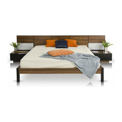 Wood Panel Headboard Bed with Nightstands - The multipurpose design of this modern storage bed and nightstand set gives any bedroom a unified and clean look. Peekaboo drawers under the bed help you secretly store pillows, throws, and sheets, while the headboard's two touch-sensor lights allow you to read before you dream. To complete the look, matching nightstands with drawers are included.