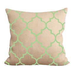 Fiber and Water - Celadon Moroccan Pillow - Celadon Moroccan designed pillow. This hand-printed piece of art has beautiful texture from a combination of natural burlap and water-based paints. Hand-pressed onto natural burlap using water-based inks.