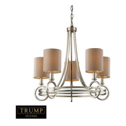 Elk Lighting - Elk Lighting 31006/5 New York 5-Light Chandelier in Renaissance Silver - 5-Light Chandelier in Renaissance Silver belongs to New York Collection by Taking Styling Cues From The Art Deco Period, The Trump Home��_��_��__��__ New York Collection Features Clean Lines And Unique Design Elements. The Lights Are Supported By Rings That Gracefully ��_��_��_��_��_Float��_��_��_��_��_ Around A Larger Double Ring. Finished In Renaissance Silver Leaf With Cream Fabric Shades, This Series Is Versatile And Contemporary. Shades Are Optional On Items With Crystal. Chandelier (1)