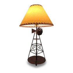Zeckos - Brown Windmill Decorative Table Lamp with Leather Look Shade - This lamp will be right at home whether in your industrial themed office or in your western style living room. This rustic brown metal windmill table lamp will be the finishing touch to any room you choose Measuring 27.5 inches high, 9.75 inch diameter (70 x 25 cm), it includes a 9.25 inch high, 16 inch diameter (24 X 41 cm) laced trim leather look shade. It uses 1 standard sized bulb (not included), and easily turns on or off via the twist switch located just under the bulb, and the long 68 inch cord allows for many placement options. It's a great gift any windmill enthusiast is sure to love