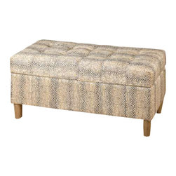Uttermost Brandis Reptile Storage Bench - With subtle reptile texture and color, this hardwood framed bench provides comfortable seating and extra storage with a double stitched, tufted cushion top. With subtle reptile texture and color, this hardwood framed bench provides comfortable seating and extra storage with a double stitched, tufted cushion top.