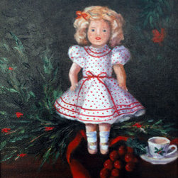 A Shirley Temple Christmas (Original) By Kay Smith - My mother in law received this Shirley Temple Doll as a Christmas present as a child. I wanted to paint it in a Christmas setting although it would look nice any time of year.