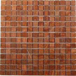 """GlassTileStore - Wood Onyx 3/4x3/4 Marble Tile - WOOD ONYX 3/4x3/4 GLASS TILES  This marble mosaic of wood onyx will make any room feel contemporary to classic. The mesh backing not only simplifies installation, it also allows the tiles to be separated which adds to their design flexibility.     Chip Size: 3/4""""x3/4 Squares""""   Color: Wood Onyx   Material: Wood Onyx   Finish: Polished   Sold by the Sheet - each sheet measures 12""""x12"""" (1 sq. ft.)   Thickness: 8mm    - Glass Tile -"""