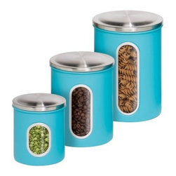 Honey Can Do Metal Storage Canisters - 3 Pack - Make the most of counter space with the Honey Can Do Metal Storage Canisters - 3 Pack. Crafted with durable steel in a bright blue hue, each of these three graduated-size canisters boasts a pressure-fitted lid to keep contents fresh and a clear window in front so you can see when contents are getting low. And when you need to free up counter space for a big project, nestle these empty containers inside each other.DimensionsLarge: 1.8LMedium: 1.2LSmall: .8LAbout Honey-Can-DoHeadquartered in Chicago, Honey-Can-Do is dedicated to helping you organize your life. They understand that you need storage solutions that are stylish and affordable at the same time. Honey-Can-Do focuses on current design trends and colors to create products that fit your decor tastes while simultaneously concentrating on exceptional quality. When buying a Honey-Can-Do product, you can be sure you are purchasing a piece that has met safety control standards and social compliance methods.