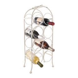 True Fabrications - Wine Rack 8 Bottle Mini Arch Wine Rack - The shabby chic inspired Mini Arch Wine Rack is the perfect combination of decorative style and functionality. Stores up to eight standard sized bottles of wine and features handles for easy transport.