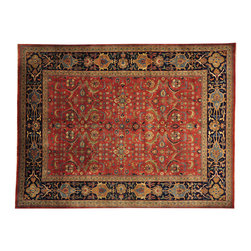 Fine Red Sarouk Fereghan New Zealand Wool 9x12 Hand Knotted Oriental Rug SH17049 - This collection consists of fine knotted rugs.  The knots per square inch means more material in the rug as well as more labor.  This leads to a finer rug and a more expoensive rug.  Classical and traditional persian motifs are usually used as designs in these rugs.