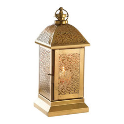 Malibu Creations - Malibu Creations Nomadic Gold Lantern - You could wander the globe and never find a candle lantern more brilliant than this. The gold luster of the metal framework is punctuated by delicate leaf-like cutouts on all four side panels and the domed roof. The hinged door swings open, revealing the perfect platform for the candle of your choice. Light it and your space will be filled with sophisticated pattern with an exotic flair. This golden candle lantern features a stepped base and a gleaming top loop.
