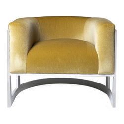 """Lisa Jarvis - Lisa Jarvis Half Moon Chair - The Lisa Jarvis Half Moon chair exudes plush comfort epitomized by sublime style. Around an irresistibly inviting seat, solid steel gracefully curves for a boldly striking statement. 33""""W x 295""""D x 24""""H; Fabric based on availability. Please contact sales@zincdoor.com to confirm options."""