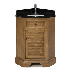 Pegasus - Palmetto Corner Vanity in Driftwood Finish - Manufacturer SKU: G294CV2820DW. Faucet not included. Black granite vanity top. Matching backsplash and white under mount sink. Soft close door hinges. Adjustable leg levelers. CARB ATCM compliant. Made from wood. 17.63 in. W x 26.13 in. D x 34 in. H (140 lbs.)