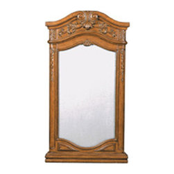 Ambella Home - Private Retreat Mirror - Intricately carved detail with a dusty wax finish makes this mirror a great companion to the Private Retreat Collection.  W033. Dimensions: 26 in. x 3.5 in. x 48 in.