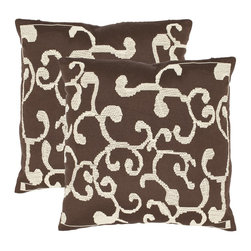Safavieh - Safavieh Sienna Pillow (2) X-2TES-8181-A948LIP - Inspired by the beautiful ironwork of the Art Nouveau period, this 100% polyester accent pillow is detailed with crisp creamy white tracery on a chocolate brown ground.
