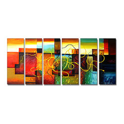 DESIGN ART - 'Multi-Color Abstract Art' Hand Painted Canvas Art (5 Piece) - Artist: Unknown Title: Multi-Color Abstract Art Product type: Hand Painted, Oil on Canvas