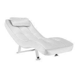 Abbyson Living - Abbyson Living Carpin Leatherette Chaise in Pure White - Abbyson Living - Chaise Lounges - MSXP172WHT - The Carpin lounger features a beautiful and sleek contemporary style. Find ultimate comfort reclining on this smooth curved design and plush cushioning. Ideal for the modern home or office.